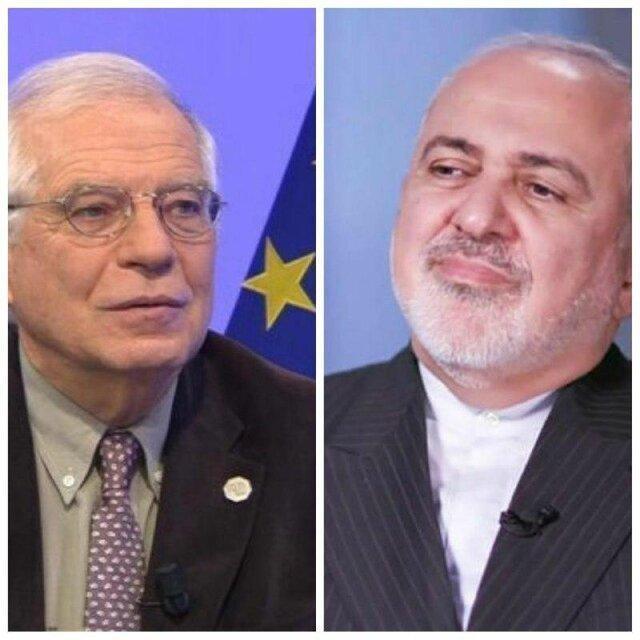 رایزنی ظریف و مسوول سیاست خارجی اتحادیه اروپا در خصوص لزوم لغو تحریم های آمریکا علیه ایران